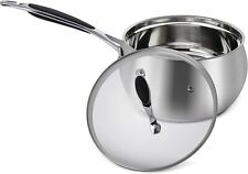 ELITRA Home Stainless Steel Sauce Pan & Glass Lid for All Stovetops 3 Qt, Silver