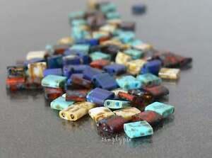 Tila Mixed Picasso 2 Hole Glass Beads Small Flat Squares 50 Pcs