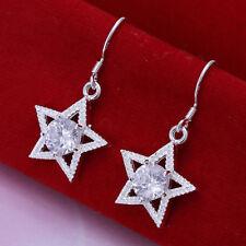 Damen Ohrhänger Stern mit Zirkonia Ohrringe 925 Sterling Silber plattiert