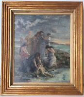 Antique Oil painting 19thC FRENCH IMPRESSIONISM Moses saved from the waters