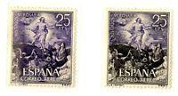 Error de color variedad sello España 1474 año 1963 color lila en vez de negro