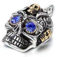 Mens Gothic Biker Devil Eye Skull Motorcycle Stainless Steel Pendant Necklace
