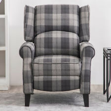 Orthopaedic Recliner Armchair Lounge Sleeper Sofa Chair Fireside Fabric Tartan
