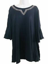 Ladies Top Tunic Navy Blue Studded Neckline By Grace Evans BNWT Plus Size
