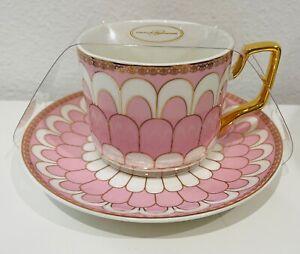 Grace Teaware Porcelain Tea Cup & Saucer Set Pink & Gold Accent New