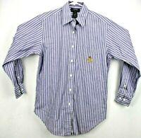 Lauren Ralph Lauren Women's Shirt 6 Long Sleeve Button Up Purple/Green/White