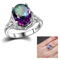 Genuine Rainbow Fire Topaz Mystic Ring Solid 925 Sterling Silver Fine HQ Jewelry
