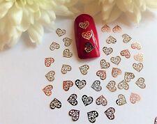 50 X Arte en Uñas Plata Oro Rosa Día de San Valentín corazones pequeños Delgada Metal Lentejuelas 1VH