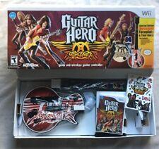 Nintendo Wii Guitar Hero Aerosmith Bundle Lot Game, Guitar, Strap, Stickers