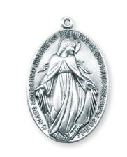 "Needzo LTG 1 3/8"" Mens Sterling Silver Wide Miraculous Medal w 27"" Chain"
