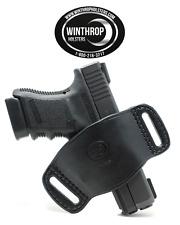 Glock 43 No Laser Ambidextrous OWB Belt Slide Leather Holster Black