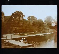 c1890s Magic Lantern Slide Photo View On The River Thames Streatley