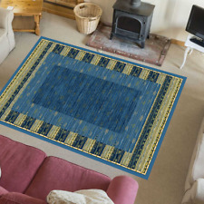 Teppich Modern Wohnzimmer Europäisch mit Umrandung Klassisch Karen Blau-Citrus