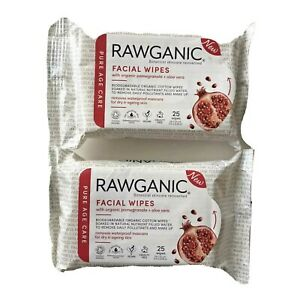 2 pkg Rawganic Vegan Facial Wipes Organic Pomegranate Aloe Vera Removes Makeup