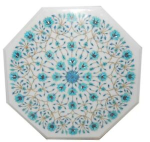 """24"""" White Marble Table Top Semi Precious Stones Turquoise Inlay Home Decor"""