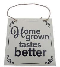 New Home Grown Tastes Better Metal Garden Sign Plaque Hanging Greenhouse