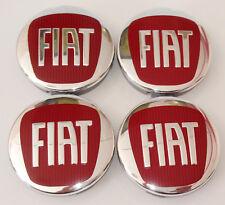 Satz von 4 x 60mm Fiat Nabendeckel Rot Nabenkappen Felgendeckel Radkappen