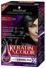 SCHWARZKOPF KERATIN COLOR PERMANENT HAIR COLOR CREAM, 1.0 BLACK ONYX