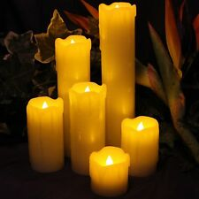 Battery 6Piece Dripping Fake Wax Church Pillar Electronic LED Candle Mood Lights
