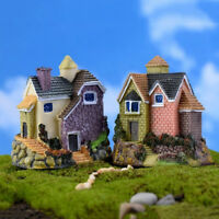 HK- Fairy Garden Miniature Resin Thatched House Micro Landscape Ornament Decor H