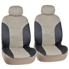 Motor Trend PU Leather Car Seat Covers 2pc Front Black/Tan Two Tone Leatherette