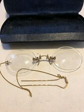 Antique Pince Nez Gold Plated Rimless Eye Glasses