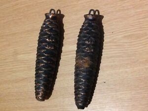 Antique Cuckoo Clock Weight Pair Pine Cone Examples 420g 130mm