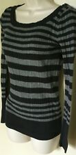Mudd Long Sleeve Black/Gray Stripe 100% Cotton Ribbed Knit Fitted Sweater Top  M