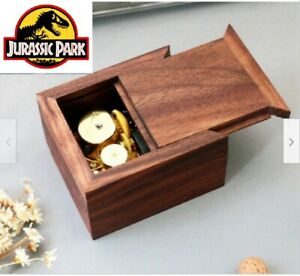 WALNUT  WOODEN  SLIDE WIND UP MUSIC BOX   ♫ JURASSIC PARK  ♫
