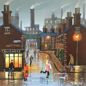 MAL.BURTON ORIGINAL OIL PAINTING. STOP THAT DOG  NORTHERN ART DIRECT FROM ARTIST