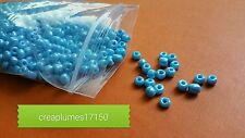 Perles de rocaille  4mm 50g bleu  nacrée