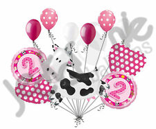 11 pc 2nd Birthday Cow Balloon Bouquet Happy Decoration Farm Animal Second Girl