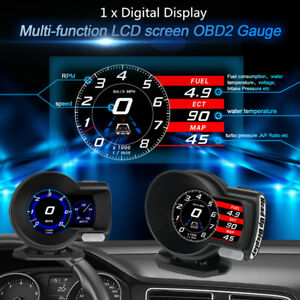 Car Auto OBD2 Gauge HUD Head-Up Digital Display Boost Data Scan Tool VLT/RPM/MAP