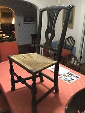 Antique (c 1775) side chair in all original condition. Mahogany with rush Seat.