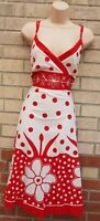 PISTACHIO RED WHITE COTTON FLORAL SPOTTED SUMMER TEAM A LINE SKATER DRESS 14 L