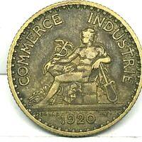 FRANCE,  1920,  1 FRANC, ALUMINUM BRONZE COIN.  KM#876