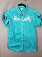 Wrangler Rock 47 Pearl Snap Western Rodeo Top, Blouse Women's Size L Green