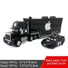 Disney Pixar Cars Black Apple Mack Racer's Truck &  Apple Icar Diecast Kids Gift