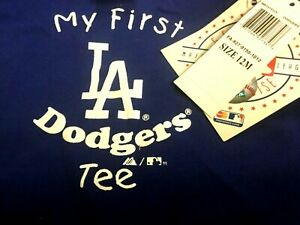 LOS ANGELES DODGERS My First Tee Infant Shirt SIZE 12 MONTHS Majestic NWT