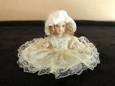 Vintage Porcelain Bisque Ceramic Victorian Jointed Girl Doll Figurine Ornament