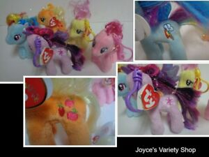 "My Little Pony NWT Set of 5 Stuffed  Plush Ponies 4.5""H Free Shipping TY Sparkle"