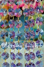 Lilac - Lead Glass Crystal - Octagon 14 MM Chandelier - Prisms Chains