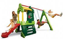 altalena giardino doppia con scivolo e casetta gioco e giochi età 2 - 6 anni