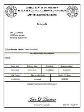 FCC Amateur Radio License Print * Ham Radio License