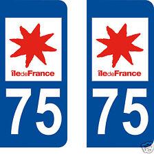 2 STICKERS AUTOCOLLANTS PLAQUE D'IMMATRICULATION DEPARTEMENT 75 PARIS