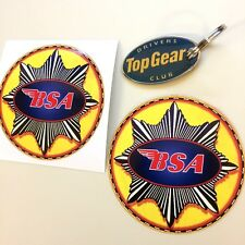 BSA STAR Vintage Classic Motorcycle Toolbox Retro Stickers Decals 85mm 2 off