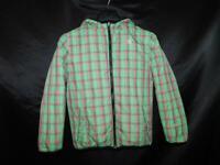 The North Face L Girls Green Pink Plaid Down Coat 550 Fill Full Zip Hood Winter