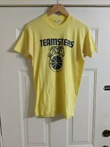RARE VINTAGE Teamsters YELLOW T Shirt Mens Size Large... devKnit tag!!!