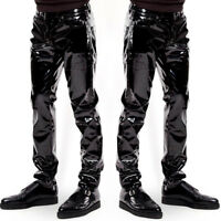 FJ- MEN SEXY WET LOOK FAUX LEATHER LONG PANTS TROUSERS STAGE COSTUME CLUBWEAR NI