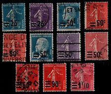 Série Surchargée de 1926, Oblitérés = Cote 15 € / Lot Timbres France 217 à 228